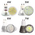 Super Bright GU10 LED 220V 110V 4W 5W 6W 7W Light Bulb glass aluminum spot light