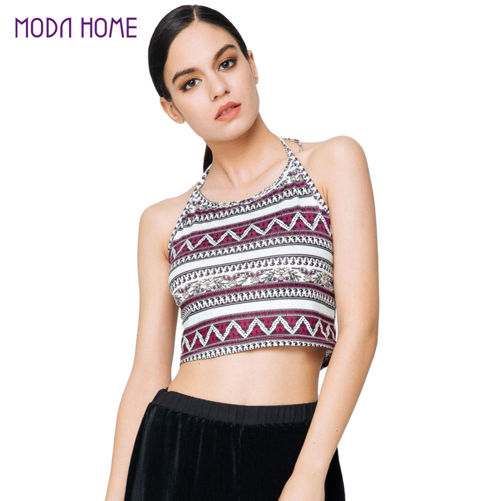 2016 Sexy Boho Crop Top Women Vintage Geometric Print Halter Tie Beach Tops Backless Sleeveless Vest Cami Black Wome Tops(China (Mainland))