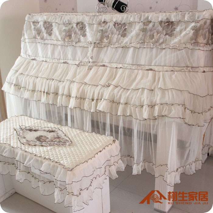DS quality lace yarn Piano cover korean style <font><b>elegant</b></font> piano covers <font><b>home</b></font> <font><b>decoration</b></font> textile cloth with bench cover suit 2pcs/set