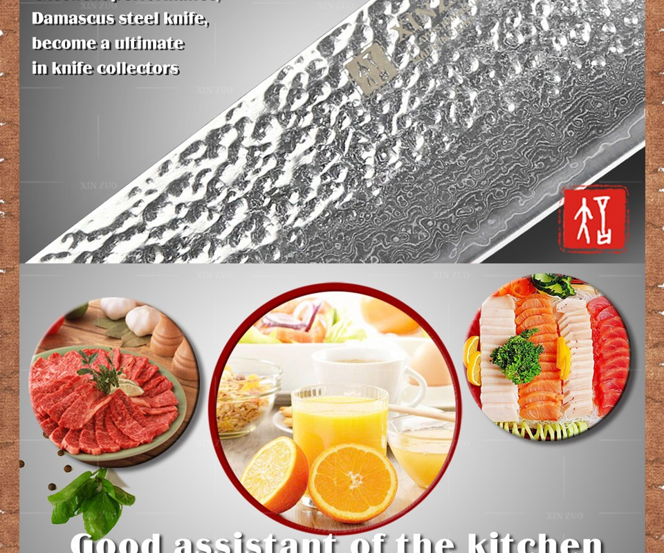 """Buy XINZUO 8 """" chef knife Japanese Damascus kitchen knife kitchen tool senior meat vegetable knife Color wood handle free shipping cheap"""