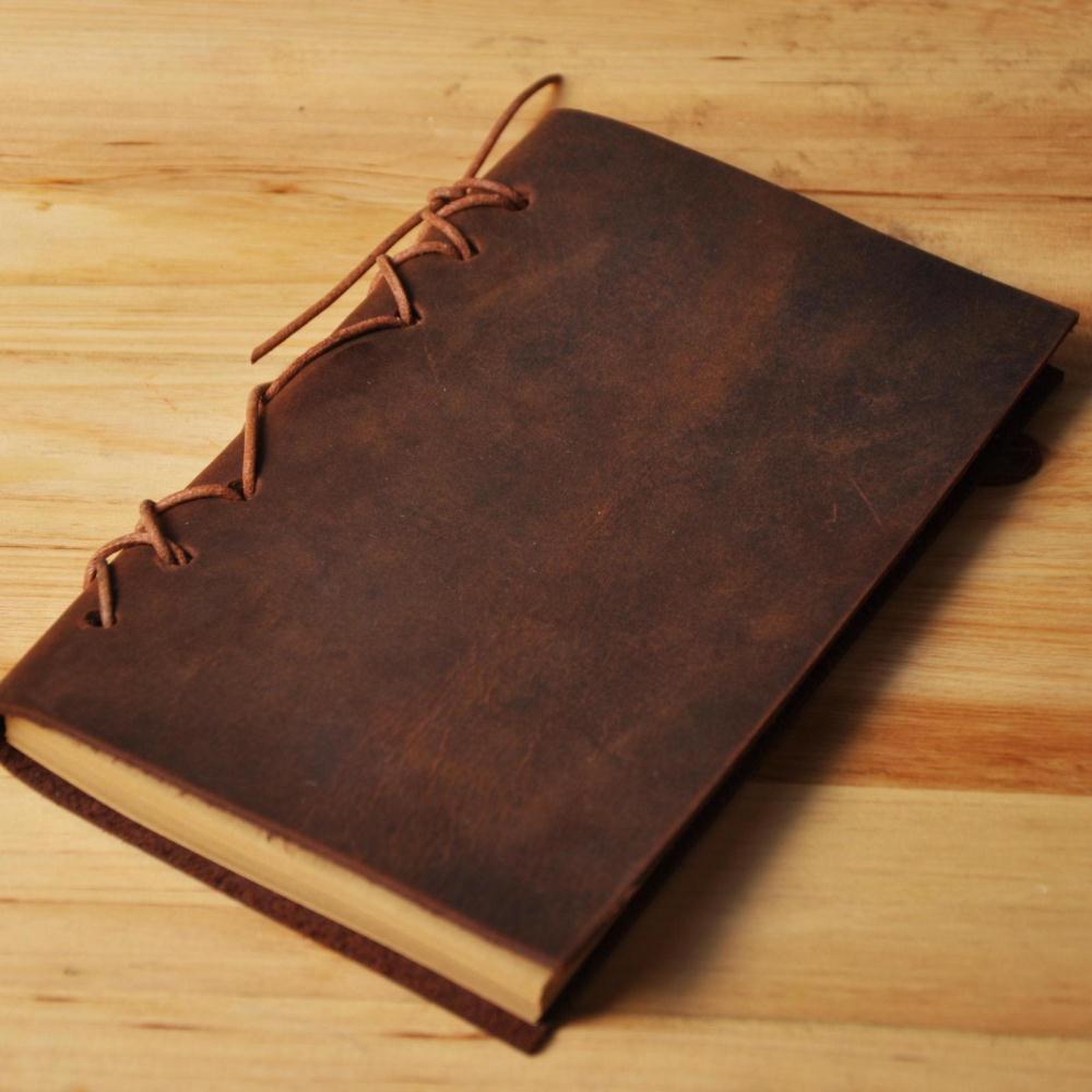 Catcher original handmade leather retro yellow notepad / leather traveler diary / stationery notebook child 0920(China (Mainland))