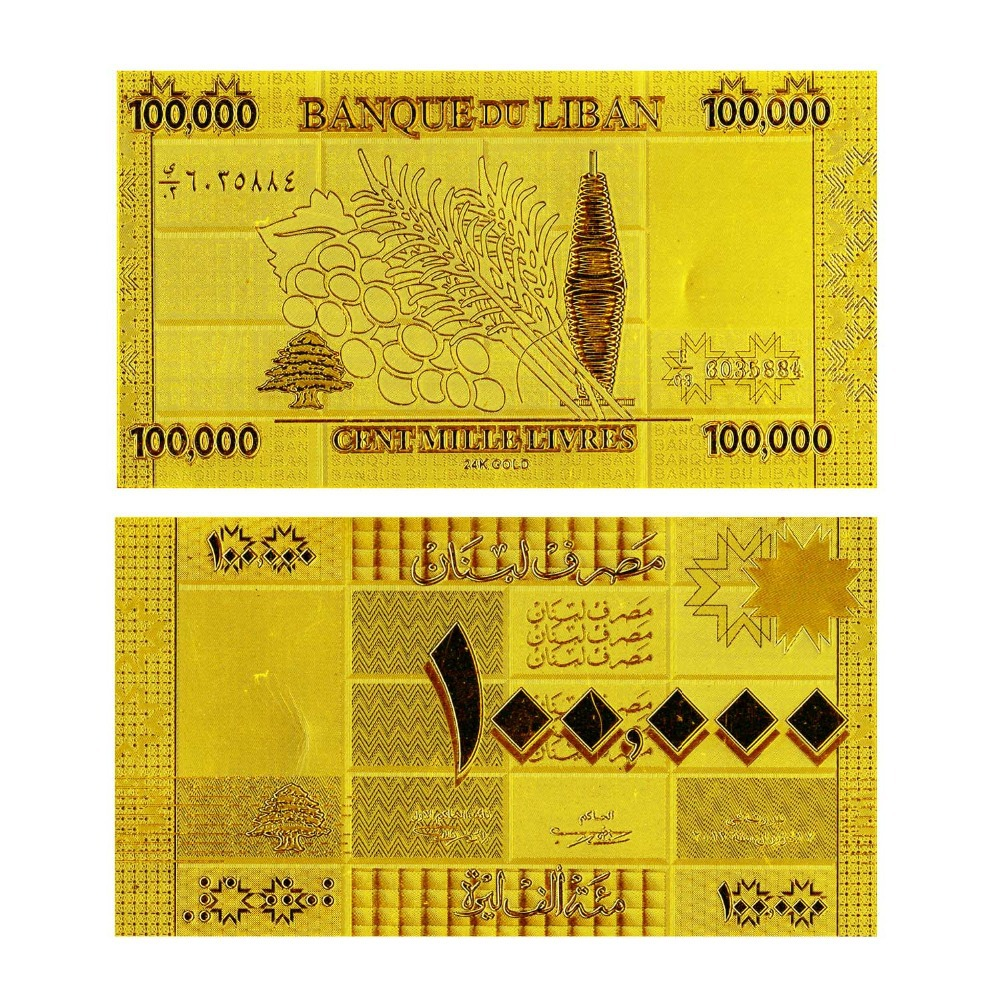 Latest Arrival Lebanon Paper Currency Lebanese Pound 100000 Pure Gold Foil Banknote Nice Birthday Gifts(China (Mainland))