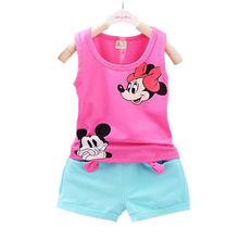 2016 New Cartoon Minnie Mickey Summer Baby Boy Girl Clothing Set 2PCS Vest+ Shorts Suit Kids Child Casual Children Clothes