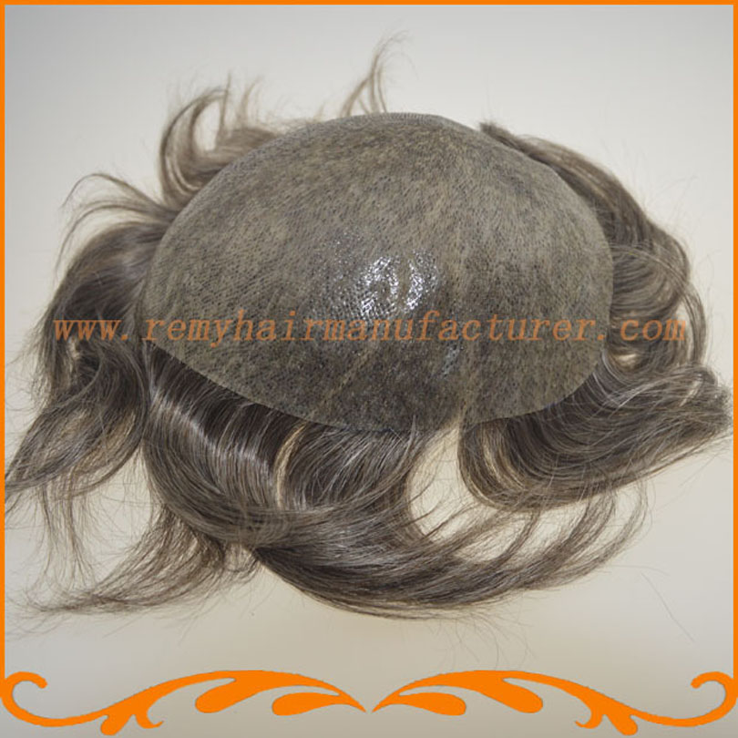 Full PU thin skin toupee looks very natural hair system Indian gray hair mens wigs hair piece stock free shipping(China (Mainland))