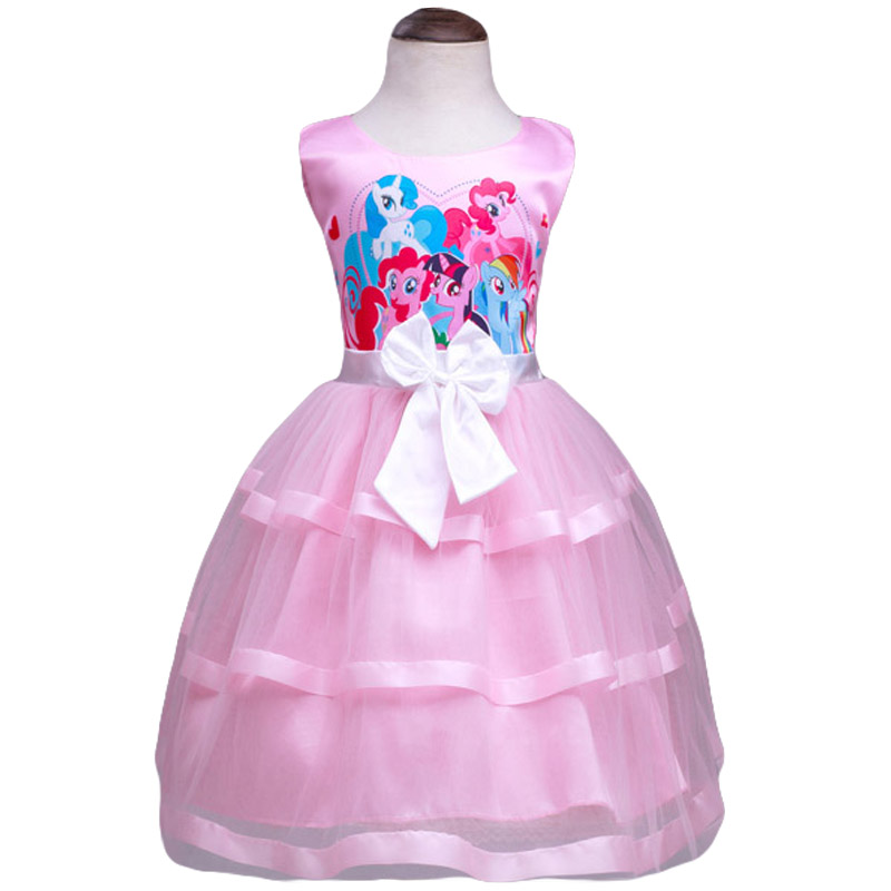 Baby Girls Clothing New 2016 Summer Kids Dress Fashion Cartoon My Pony Children Clothes Sleeveless Dresses For Girls Dress(China (Mainland))