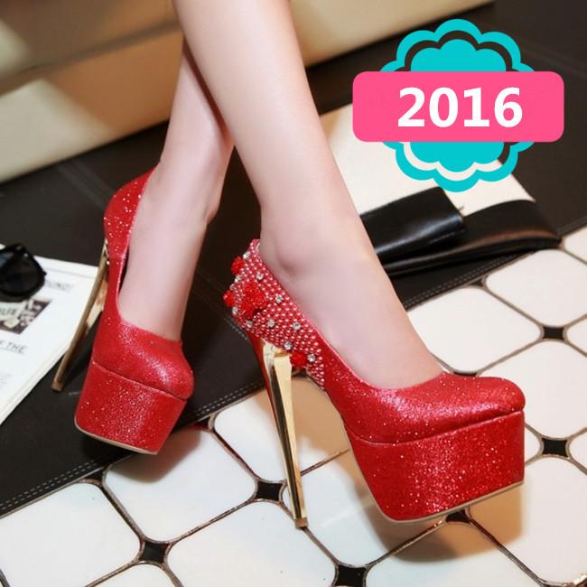 Wedding Shoes 2016 Women 15 CM Ultra High Heels Platform Wedding Pumps Sexy Rhinestone Pearl Flowers Thin Heels Pumps T-03<br><br>Aliexpress