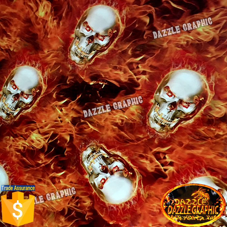 New Arrival DAZZLE GRAPHIC Hydrographic Film Water Transfer No.DGLGD049 Flaming Skull Water Transfer Printing Film Hydrographics(China (Mainland))