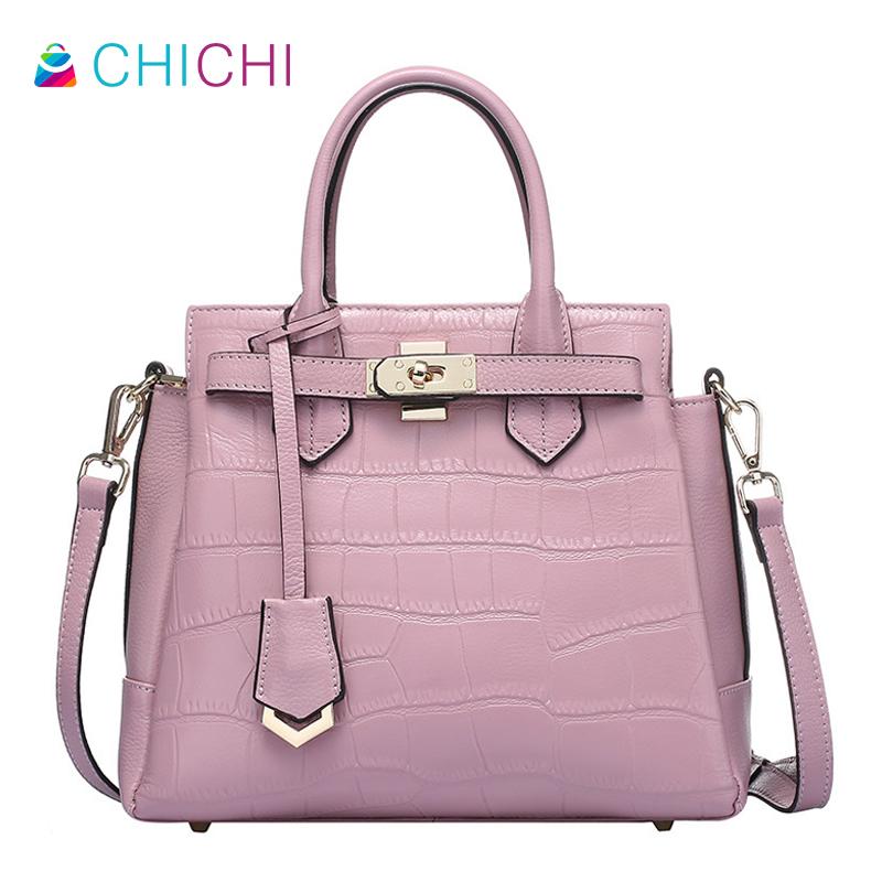 Фотография CHICHI Luxury Genuine Leather Women Messenger Totes Famous Brands Designer Inspired Handbags Ladies Hand Bags Pink Brief Bolsa