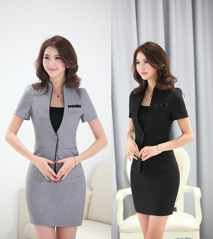 New elegant grey uniform design formal female office suits for Office uniform design 2015