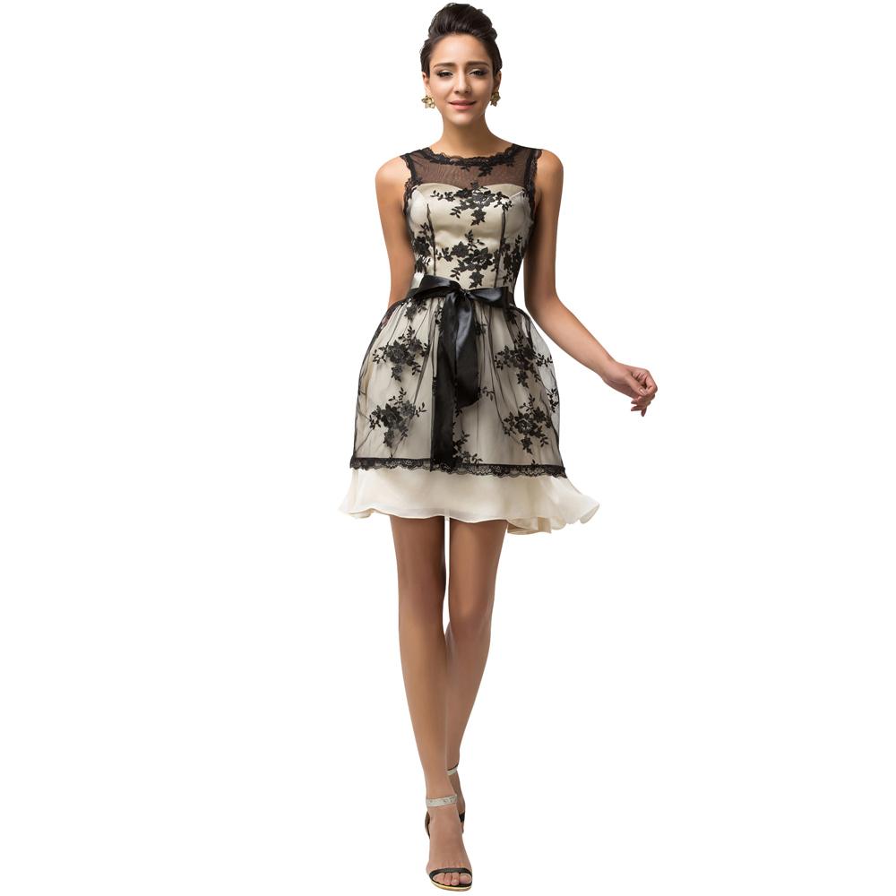 Evening Dresses Robe De Soiree 2016 Sexy V Back Formal Dress Avondjurken Evening Gown Grace Karin Lace Black Evening Dress Short(China (Mainland))