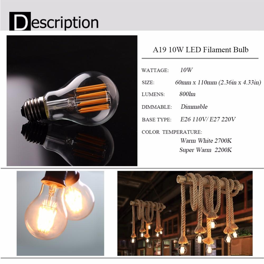 10W,2200K 2700K ,Vintage LED Filament Light Bulb,Edison A19 Globe Style,110V 220VAC,Dimmable