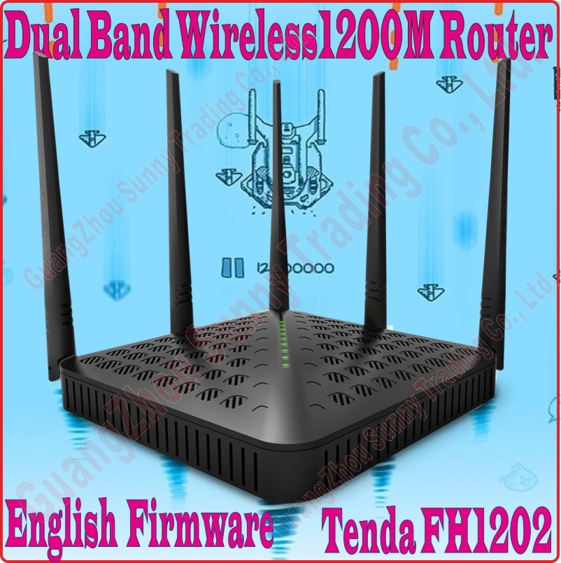 Eng-Firmware Tenda FH1202 Dual Band 2.4G&5G 1200Mbps 11AC Wireless WiFi Router, 5dBi Antenna X5,WDS Bridge, NO COLOR BOX, PROM-(China (Mainland))