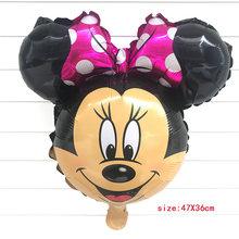 1pcs גדול גדלים מיקי מיני מאוס רדיד קריקטורה בלוני מסיבת יום הולדת קישוטי ילדים תינוק מקלחת מסיבת בלון צעצועי כדור(China)