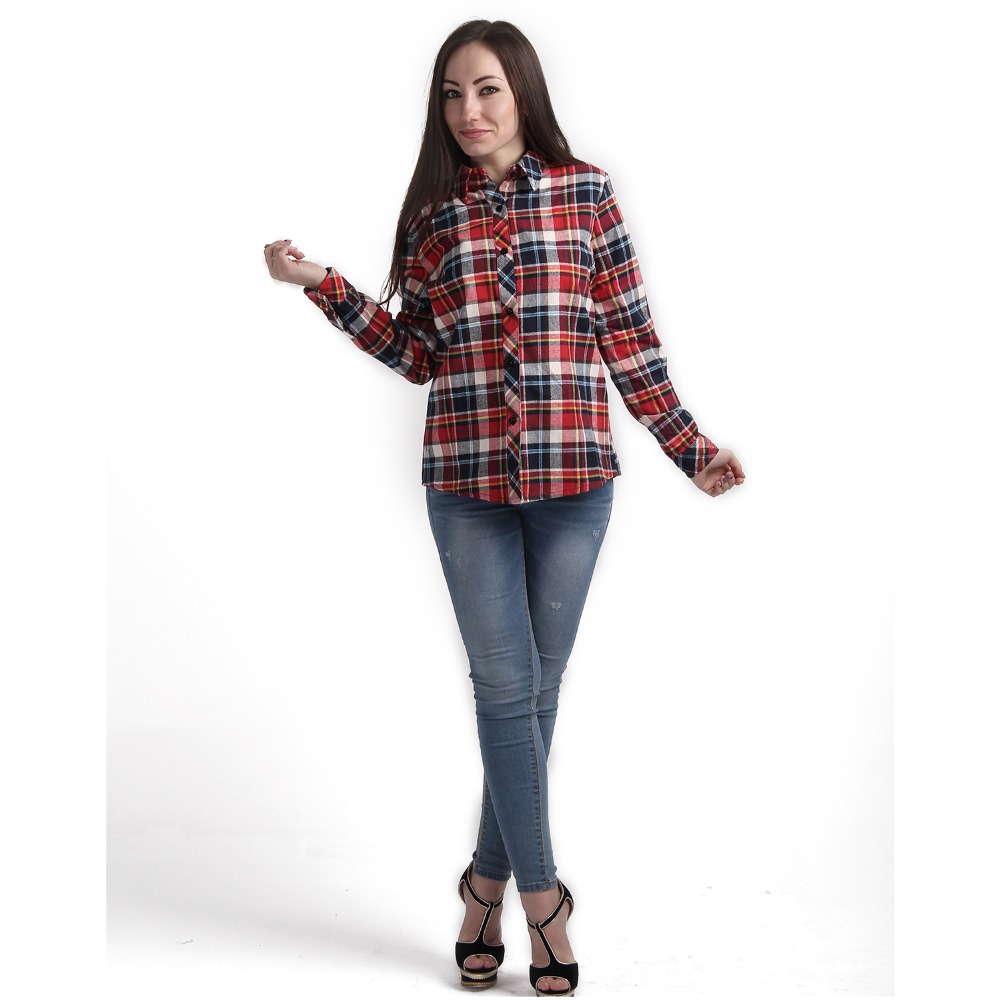 Red black plaid print women blouse summer 2015 long sleeve Womens red plaid shirts blouses