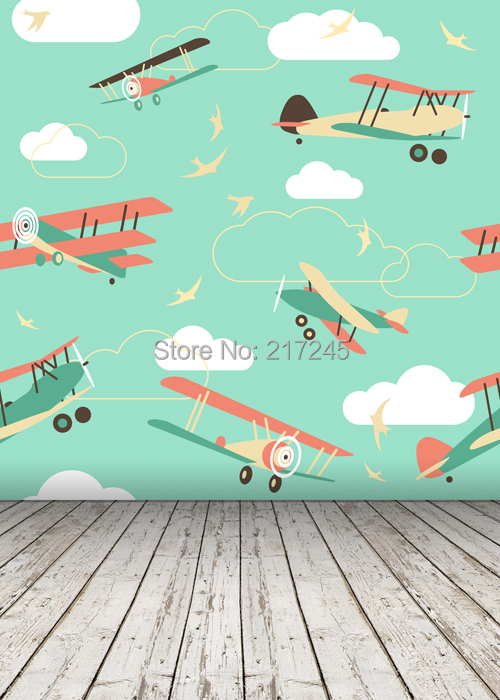 HUAYI Photography Backdrop airplane Children Custom Photo Prop backgrounds D-2731(China (Mainland))