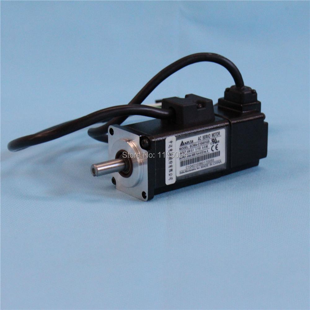 220V 100W 0.32NM 3000rpm ECMA-C10401GS Delta AC Servo Motor Keyway Oil Seal A2 Drive New