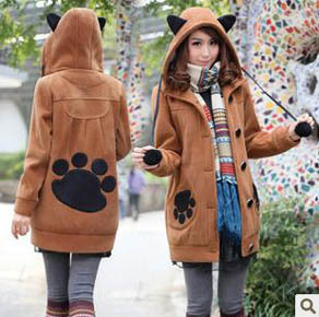 New 2013 Cute Teenage Girls Thickened Hoody Fashion Fleece Animal Cat Ear Autumn Winter Coat  Women Cardigan Hoodies Clothing