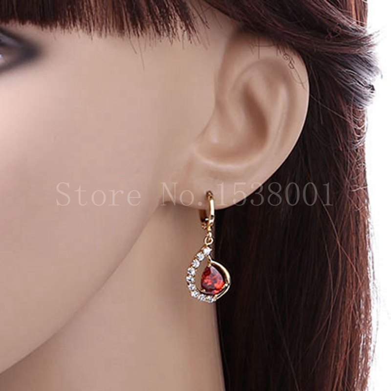 Gorgeous Ruby Earrings 18k Yllow Gold Filled Wedding Womens Dangle Earrings Vogue Jewelry(China (Mainland))