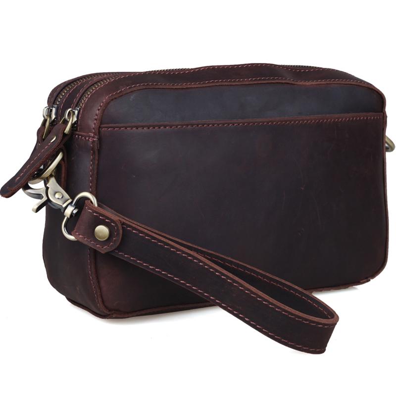 TIDING Multifunctional bag for men clutch wrist bag small brown leather messenger bag 4045(China (Mainland))