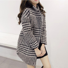 new winter coat Slim woman wide-waisted double breasted woolen tartan wool coat Slim thin casual jacket and long sections KL249
