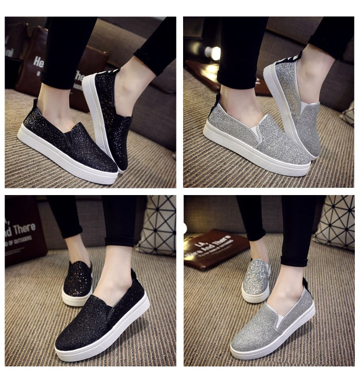 2016 Summer Spring Flat Women Shoes Korean Sequins Loafers Platform A Pedal Lazy Shoes Purple Black Sliver With Size 40 ZK4.5