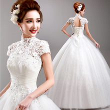 2016 Free Shipping Plus Size Wedding Dresses Short Lace Victorian Dress with Sleeve Bridal Ball Gowns Vestido de Novia Sirena(China (Mainland))