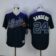 #24 Deion Sanders Braves Jersey White Home Gray Road Navy Blue Red Cream Alternate Stitched 2016 Atlanta Braves Baseball Jerseys(China (Mainland))