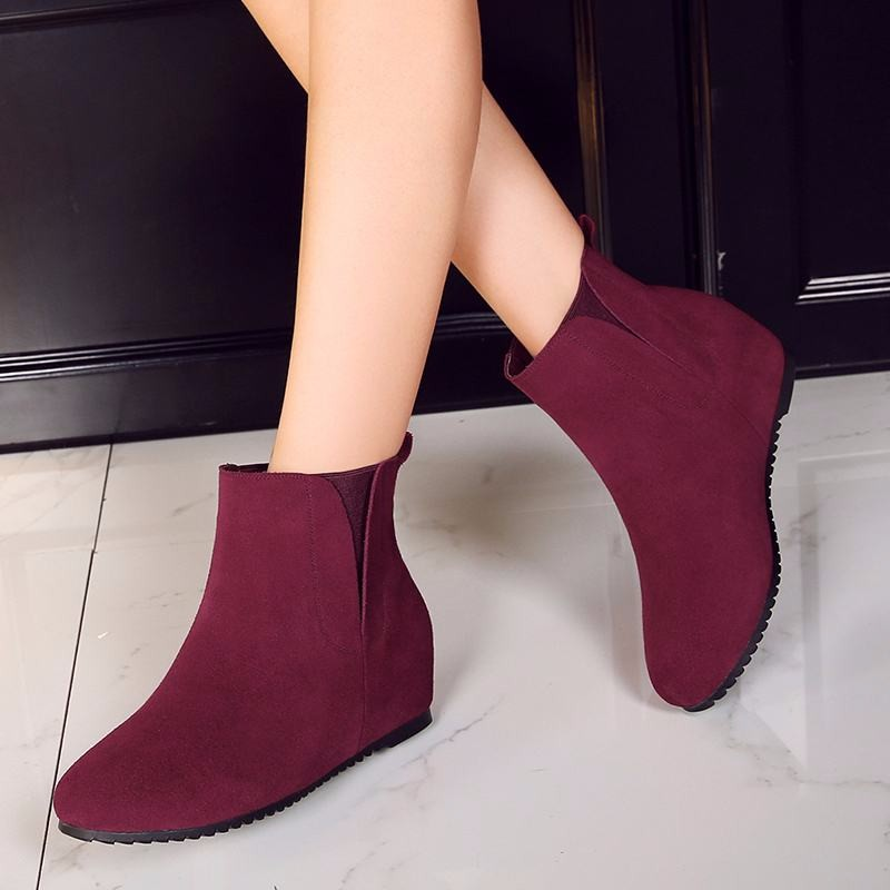 2016 Lady's Cow Genuine Leather Ankle Boots Slip On Height Increasing Female Footwear High Quality Fall Winter Boots