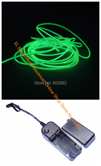 2.3mm Flourescent Green+ EL Wire 3 meters + Battery Inverter+ Mix Order Available