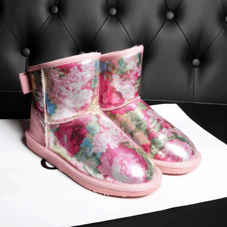 Winter Pink Print Snow Boots Wool Inside Rose Flat Bow Genuine Leather Shoes Women Short - Better&Better store
