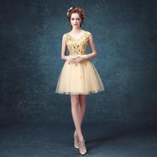 Beautiful Gold Prom Dresses Cheap Sequin Applique Short Dress V-Neck Tulle Knee Length 2016 Robe Bal De Promo - VARBOO_ELSA wedding & evening Store store