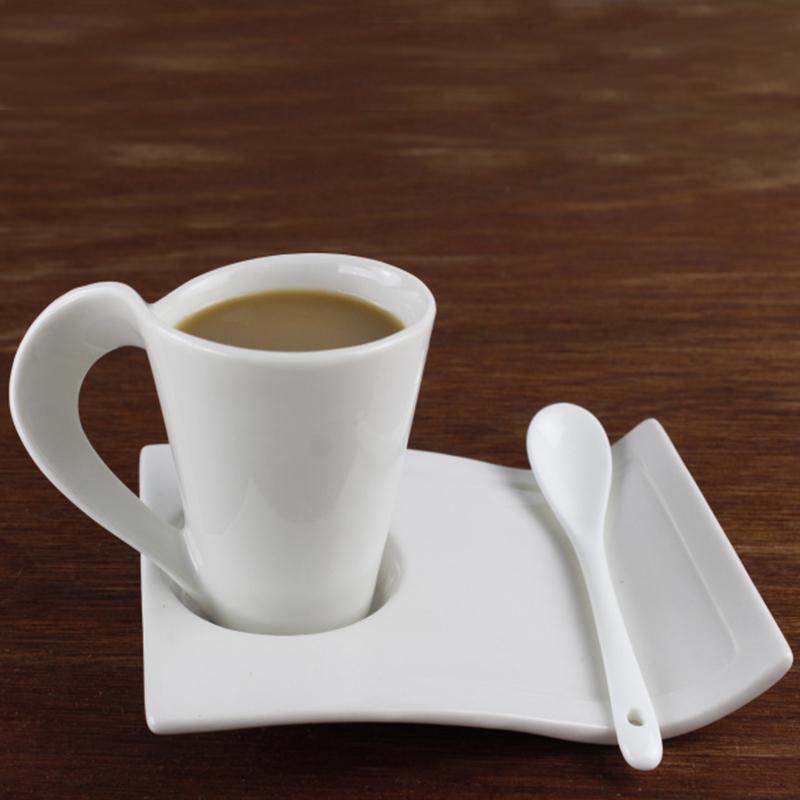 Creative coffee mug leisure simple coffee cup set tea cups Milk cups white ceramic coffee cup and saucer(China (Mainland))