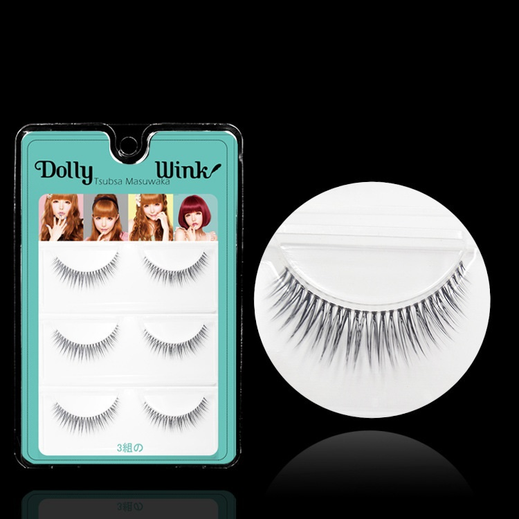 Dolly Wink 3 Pairs/Lot 3D Double Layer False Eyelash Extension MX06 Makeup Cosmetics Natural Long Winged Fake Eye Lash - LBB Commercial Co., Ltd. store