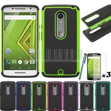 Cover For Motorola Moto X Play XT1562 XT1563/Droid Maxx 2 Rugged Heavy Duty Impact Hybrid Case Cover With/Without Films+Stylus(China (Mainland))