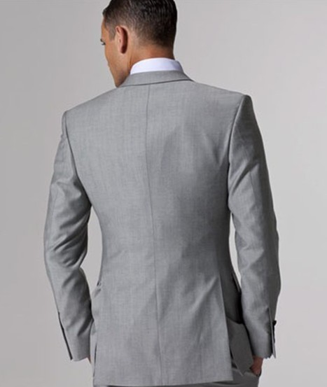 Custom made Mens Light Grey Suits Jacket Pants Formal Dress Men Suit Set men wedding suits