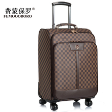 2015 New Brand Female/Male PU Leather Spinner Wheels Boarding Suitcase Luggage Travel Case 16,20 and 24 Inches Coffee Color(China (Mainland))