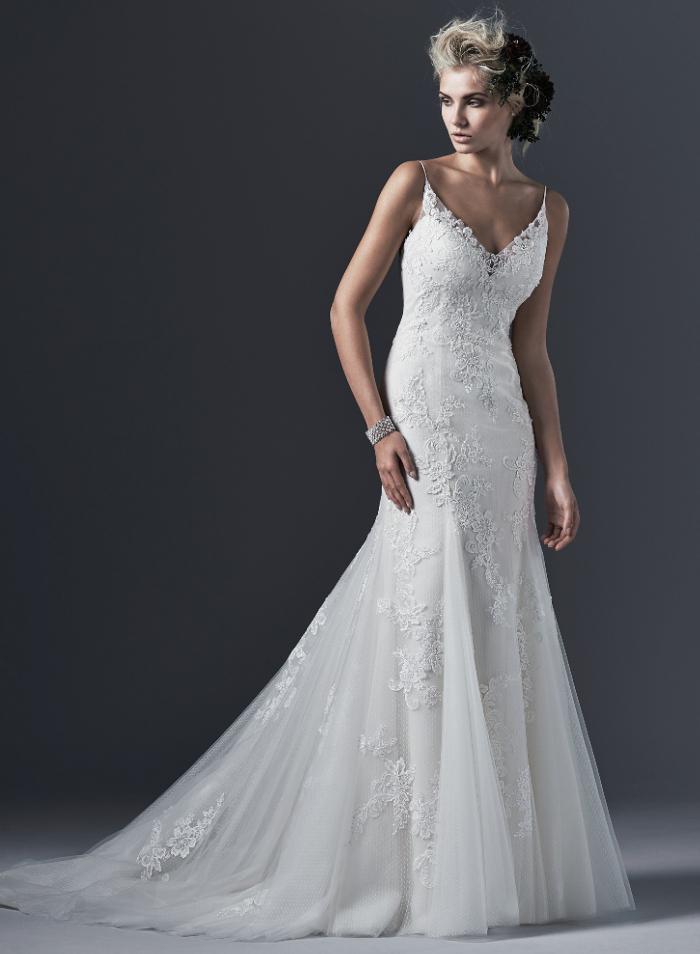 Халат де mariage свадебные платья тюль v-образным вырезом развертки поезд аппликации-линии свадебное платье 2015 № 571