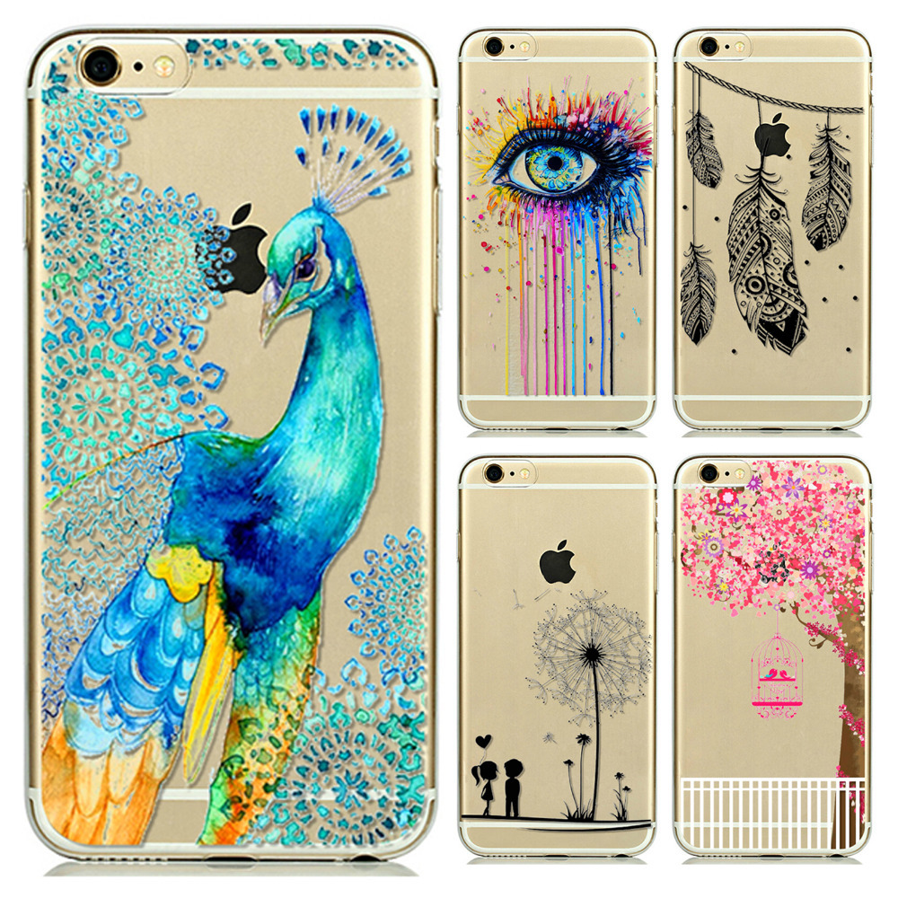 I6 Super Soft Clear TPU Case For Iphone 6 4.7inch Slim Peacock Back Protect Skin Rubber Phone Cover Case(China (Mainland))