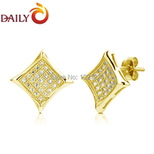 18K Gold Vermail Men Earrings Micropave CZ Diamond 925 Sterling Silver Posts Studs for Man Jewelry DAILY 2015 New DAE-0045-G(China (Mainland))