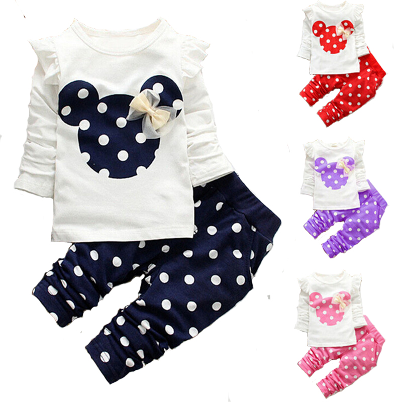 Girls clothing sets 2016 New fashion long sleeve bow tops t shirt+legging baby kids suits 2pc set,baby clothing,kids clothes(China (Mainland))