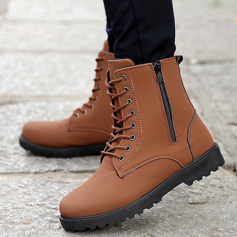 2015 new fashion boots mens leather shoes waterproof