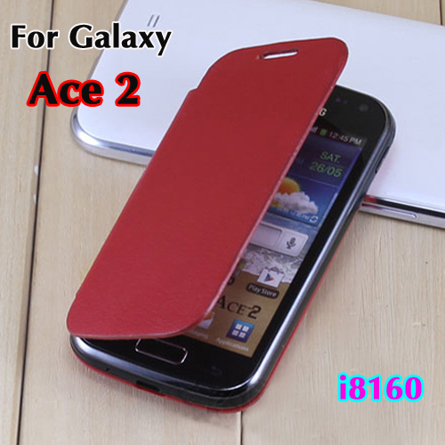 Original Flip Leather case Back Cover Battery Housing Shell Holster For Samsung Galaxy Ace 2 Ace2 I8160 + Screen Protector(China (Mainland))