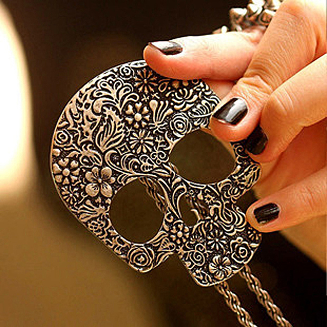 Sunshine vintage gothic big skull 6*7.5CM pendant necklace antique bronze silver long necklace fashion jewelry for women