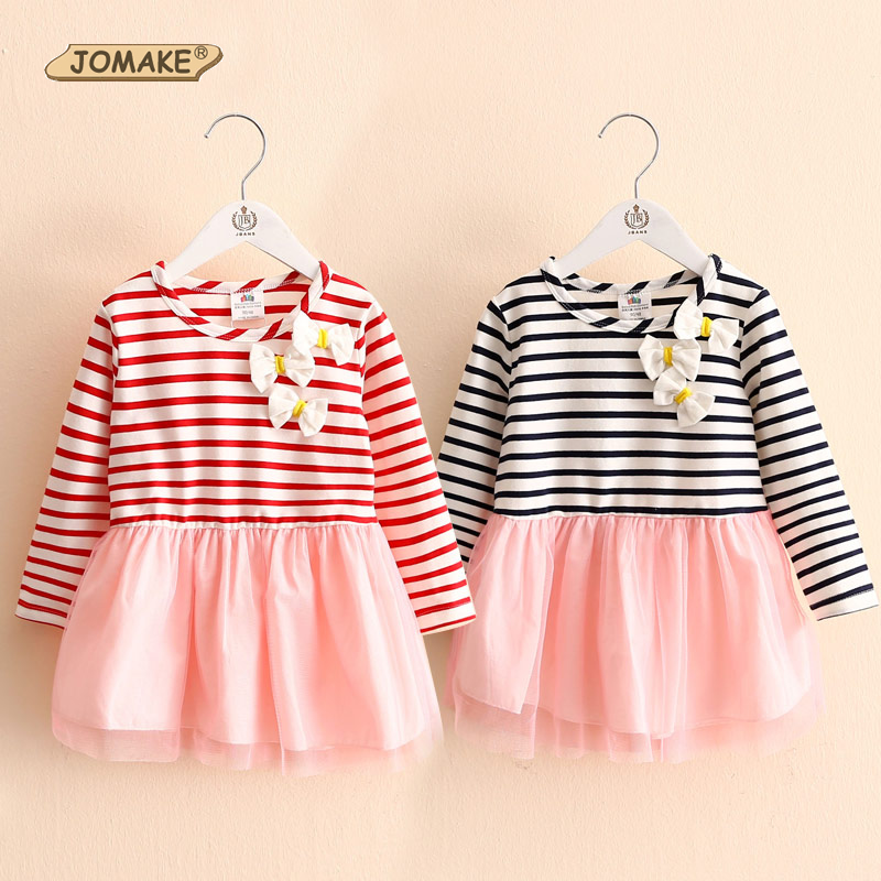 Girls Dress Classic Striped Patch Long Sleeve Bows Baby Girl Dress Sweet Princess Dresses Brand Children Clothing Kids Clothes(China (Mainland))