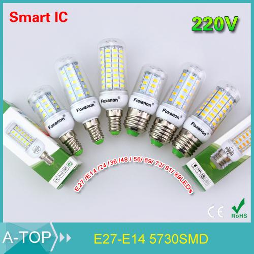 2015 Smart IC Power Drive Control E14 / E27 Led Light 220V 5730 Corn Bulb 24 36 48 56 69 72 81 89Leds Lampada Led Candle Light(China (Mainland))