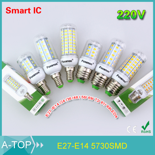 E14 / E27 Smart IC Power Driver Control Led Light 220V 5730 Corn Bulb Lamp 24 36 48 56 69 72 81 89Leds Lampada Led Candle Lights(China (Mainland))