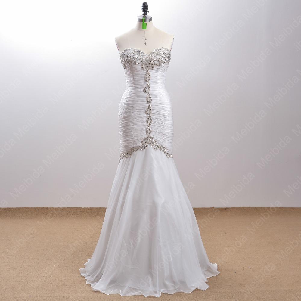 100% Ivory Mermaid Evening Dresses Crystal Beaded Sweetheart Pleat Corset Long Vestidos De Festa Robe De Soiree 2015 Real Photos(China (Mainland))