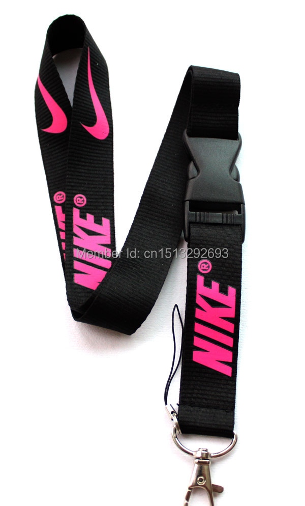 High Quality ! New 1 pcs Black Nike Detachable Cellphone Lanyard In pink Logo, Keychain, Camera Neck Strap ID badge Safety