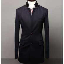 New big yards winter Stand collar coat Men's polyester long sections suit trench fr443(China (Mainland))