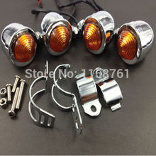 4x Motorcycle 30mm-41mm-45mm Relocation Fork Front Rear Chrome Turn Signal Light - China Mountain store